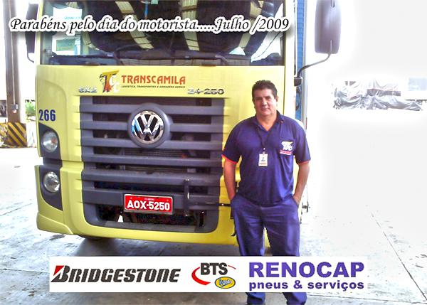 Na foto, representando todos os motoristas, o Batista da Transcamila.