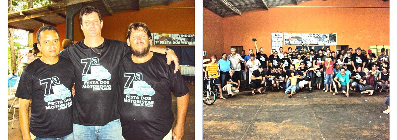 Na foto, estão o José Augusto, da Renocap, o sr. Jodemar da Transportadora Real 2000 e o Gumercindo Camargo que é transportador. O Jodemar e Gumercindo ficaram à frente da organização da festa. Na outra foto, um a visão geral da festa.